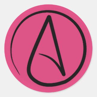 Atheist symbol: black on fuchsia classic round sticker