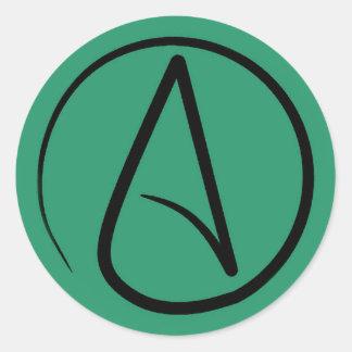 Atheist symbol: black on green classic round sticker