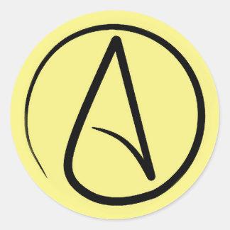 Atheist symbol: black on light yellow classic round sticker