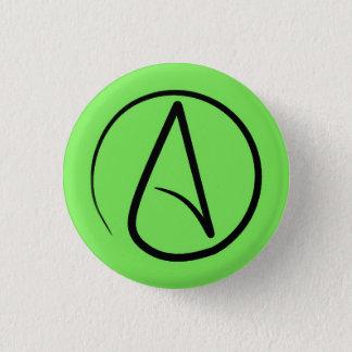 Atheist symbol: black on lime green 3 cm round badge
