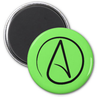 Atheist symbol: black on lime green 6 cm round magnet