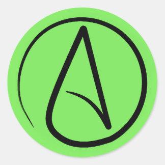 Atheist symbol: black on lime green classic round sticker