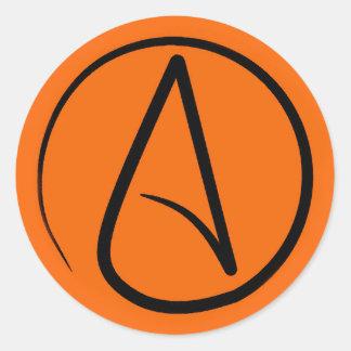 Atheist symbol: black on orange classic round sticker