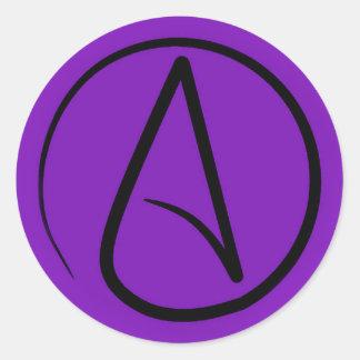Atheist symbol: black on purple classic round sticker