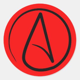 Atheist symbol: black on red classic round sticker