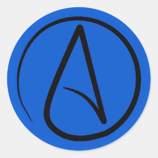 Atheist symbol: black on royal blue classic round sticker