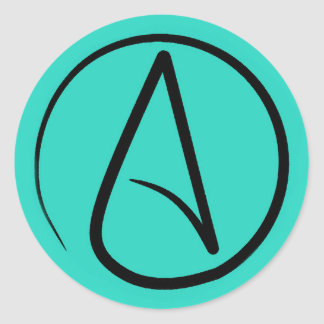 Atheist symbol: black on verdigris classic round sticker