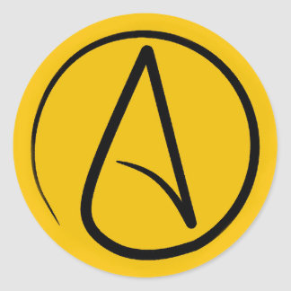 Atheist symbol: black on yellow classic round sticker