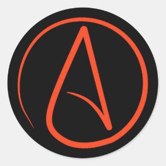 Atheist symbol: orange on black classic round sticker