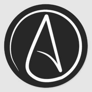 Atheist symbol: white on black classic round sticker