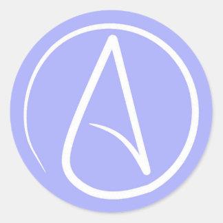 Atheist symbol: white on periwinkle classic round sticker