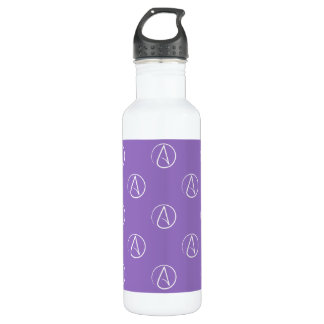 Atheist symbol: white on purple 710 ml water bottle