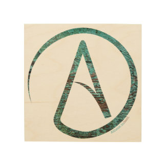 Atheist Symbol Wooden Wall Hanging Wood Canvas