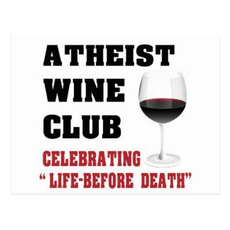 Atheist wine club postcard