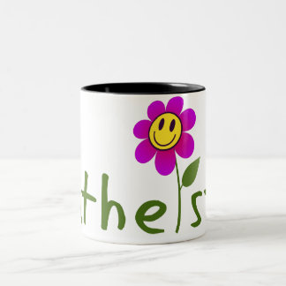 Atheist (with happy flower) Mugs