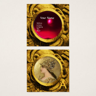ATHENA AND FIGHTING GRYPHONS MONOGRAM ,Red Ruby Square Business Card