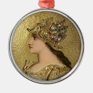 ATHENA PORTRAIT WITH GOLDEN HELMET AND GRYPHONS Silver-Colored ROUND DECORATION