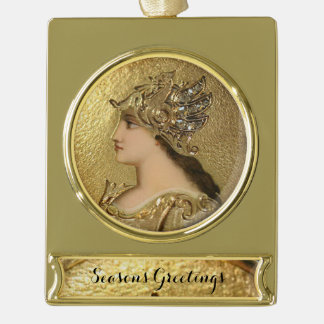 ATHENA WITH GOLDEN HELMET AND FANTASY GRIFFINS GOLD PLATED BANNER ORNAMENT