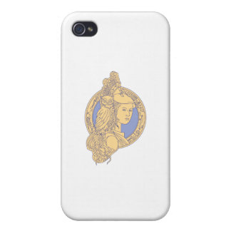 Athena with Owl on Shoulder Circuit Circle Mono Li iPhone 4/4S Cases