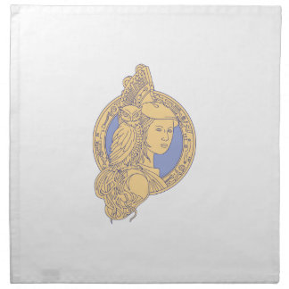 Athena with Owl on Shoulder Circuit Circle Mono Li Napkin