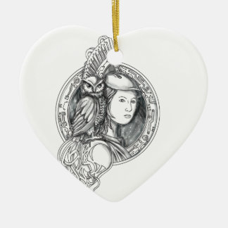 Athena with Owl on Shoulder Electronic Circuit Cir Ceramic Heart Decoration