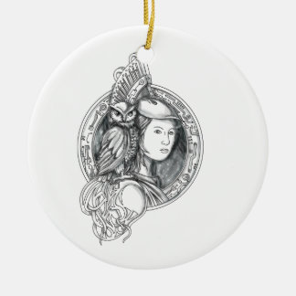Athena with Owl on Shoulder Electronic Circuit Cir Round Ceramic Decoration
