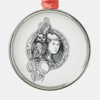 Athena with Owl on Shoulder Electronic Circuit Cir Silver-Colored Round Decoration