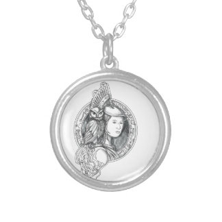 Athena with Owl on Shoulder Electronic Circuit Cir Silver Plated Necklace
