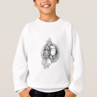 Athena with Owl on Shoulder Electronic Circuit Cir Sweatshirt