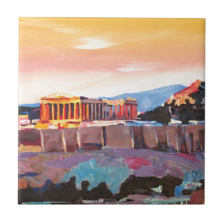 Athens Greece Acropolis At Sunset Tile