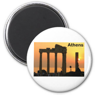 Athens Greece (Sounion) Temple of Apollo (St.K) 6 Cm Round Magnet