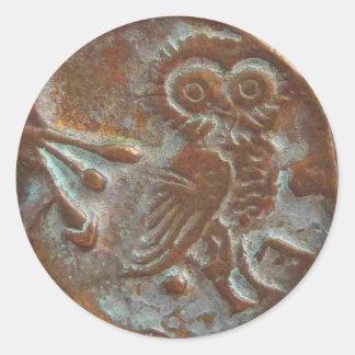 Athens Owl Classic Round Sticker