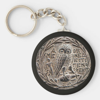 Athens Silver Tetradrachm Basic Round Button Key Ring