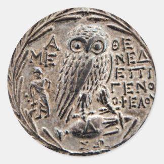 Athens Silver Tetradrachm Round Sticker