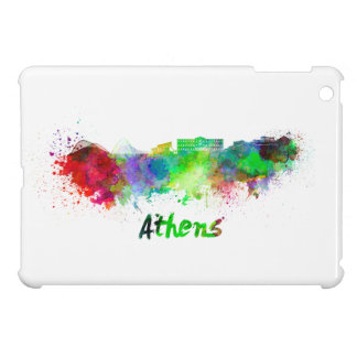Athens skyline in watercolor background