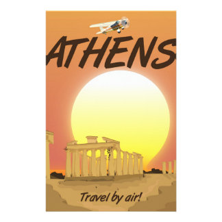 "Athens ""Travel by air"" Golden Sunset Custom Stationery"