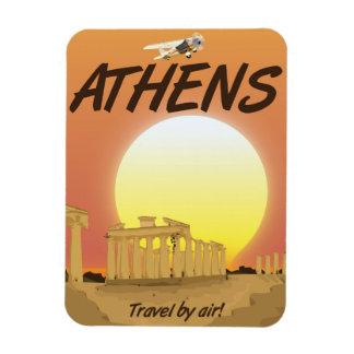 "Athens ""Travel by air"" Golden Sunset Rectangular Photo Magnet"