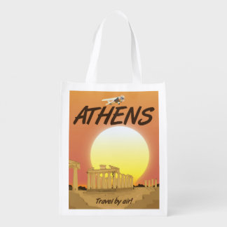 "Athens ""Travel by air"" Golden Sunset Reusable Grocery Bag"