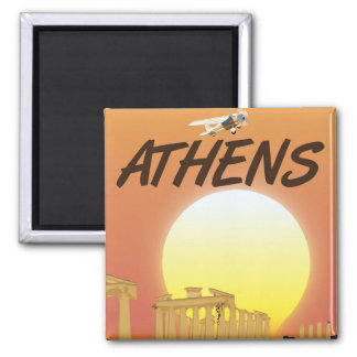 "Athens ""Travel by air"" Golden Sunset Square Magnet"