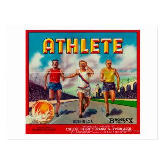 Athlete Brand Citrus Crate Label Postcard