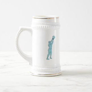 Athlete Fitness Kettlebell Swing Drawing Beer Stein