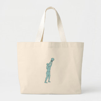 Athlete Fitness Kettlebell Swing Drawing Large Tote Bag