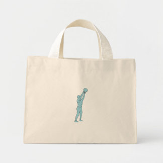 Athlete Fitness Kettlebell Swing Drawing Mini Tote Bag