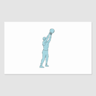 Athlete Fitness Kettlebell Swing Drawing Rectangular Sticker