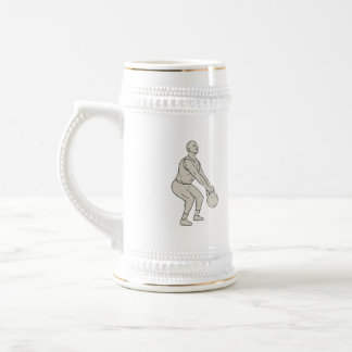 Athlete Fitness Squatting Kettlebell Drawing Beer Stein