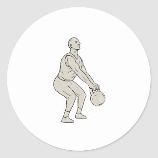 Athlete Fitness Squatting Kettlebell Drawing Classic Round Sticker