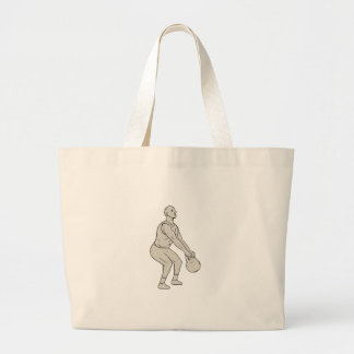 Athlete Fitness Squatting Kettlebell Drawing Large Tote Bag