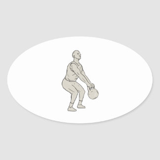 Athlete Fitness Squatting Kettlebell Drawing Oval Sticker