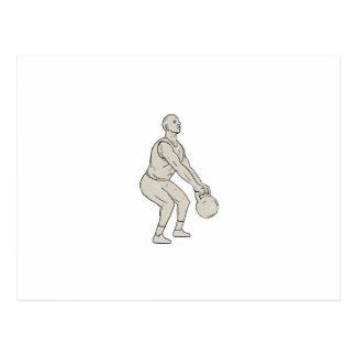 Athlete Fitness Squatting Kettlebell Drawing Postcard
