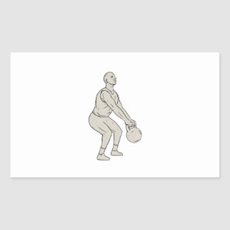 Athlete Fitness Squatting Kettlebell Drawing Rectangular Sticker